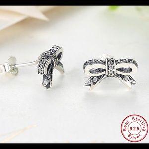 Silver Tie Earrings
